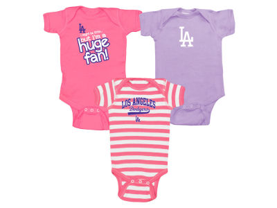 Los Angeles Dodgers Soft As A Grape MLB Newborn Girls Huge Fan 3 pc Set