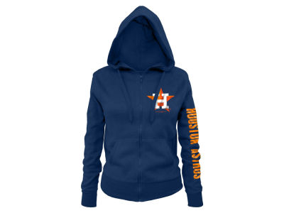 Houston Astros MLB Women's Glitter Hooded Full Zip Sweatshirt