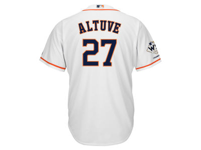 Houston Astros Jose Altuve Majestic 2017 MLB Men's World Series Champ Patch Player Cool Base Jersey