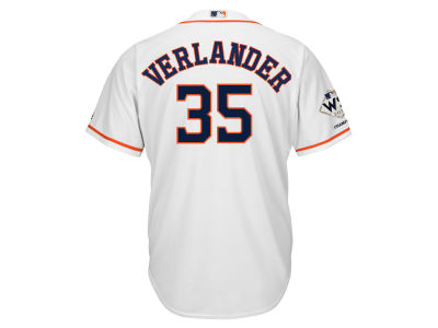 Houston Astros Justin Verlander Majestic 2017 MLB Men's World Series Champ Patch Player Cool Base Jersey