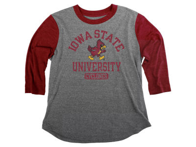 Iowa State Cyclones Blue 84 NCAA Women's Triblend Baseball T-Shirt