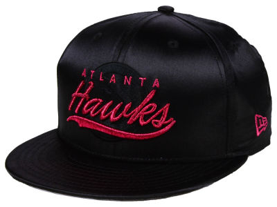 Atlanta Hawks New Era NBA Black Satin 9FIFTY Snapback Cap