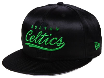 Boston Celtics New Era NBA Black Satin 9FIFTY Snapback Cap
