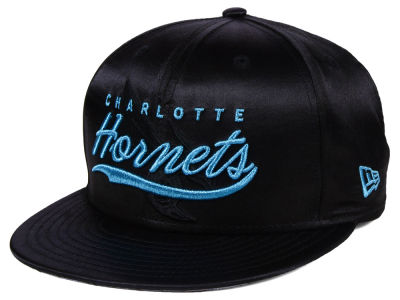 Charlotte Hornets New Era NBA Black Satin 9FIFTY Snapback Cap