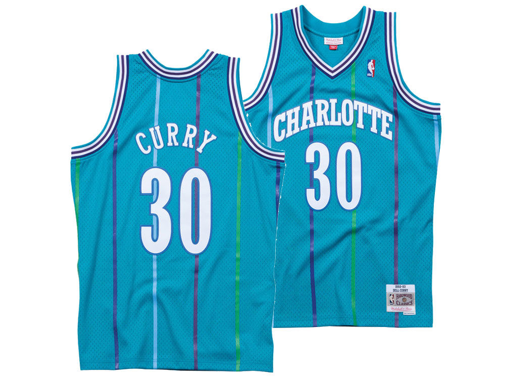 Charlotte Hornets Dell Curry Mitchell  Ness NBA Mens Hardwood Classic  Swingman Jersey