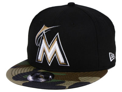 Miami Marlins New Era MLB Woodland Black/White 9FIFTY Snapback Cap