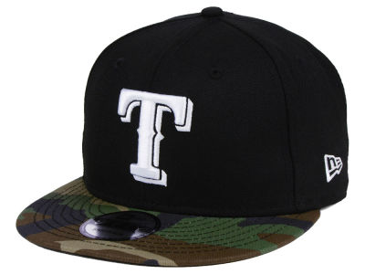 Texas Rangers New Era MLB Woodland Black/White 9FIFTY Snapback Cap