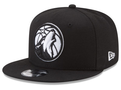 Minnesota Timberwolves New Era NBA Basic Black & White 9FIFTY Snapback Cap