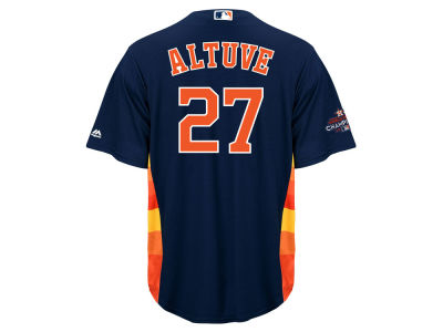 Houston Astros Jose Altuve Majestic 2017 MLB Men's World Series Champ Team Patch Player Cool Base Jersey