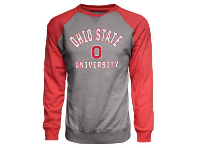 Ohio State Buckeyes J America NCAA Men's Arch and Logo Colorblock Crew Sweatshirt