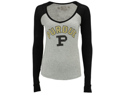 Purdue Boilermakers Retro Brand NCAA Women's V-Neck Raglan Long Sleeve T-Shirt