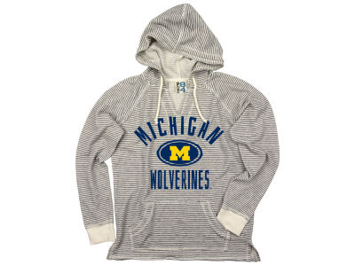 Michigan Wolverines NCAA Women's Striped Terry Hooded Sweatshirt