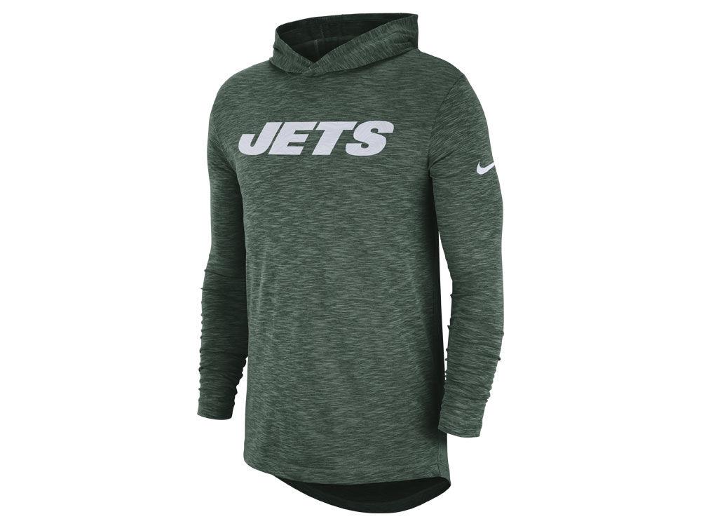 New York Jets Nike NFL Men s Dri-Fit Cotton Slub On-Field Hooded T-Shirt  040bb0f8a
