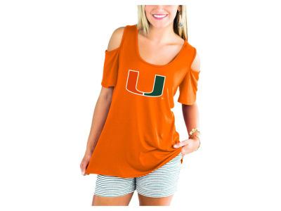 Miami Hurricanes Gameday Couture NCAA Women's Cold Shoulder T-Shirt