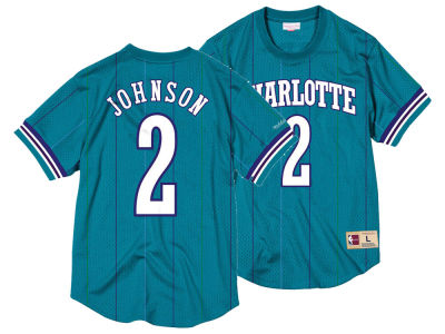 Charlotte Hornets Larry Johnson Mitchell & Ness NBA Men's Name and Number Mesh Crewneck Jersey