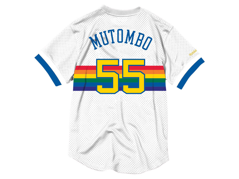 4cb6ebfb52e0 Denver Nuggets Dikembe Mutombo Mitchell   Ness NBA Men s Name and Number  Mesh Crewneck Jersey
