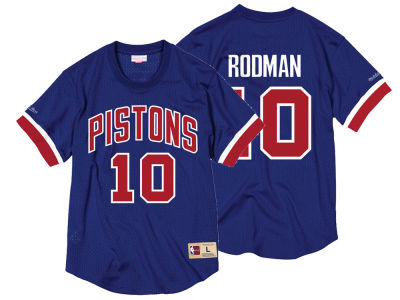 Detroit Pistons Dennis Rodman Mitchell & Ness NBA Men's Name and Number Mesh Crewneck Jersey
