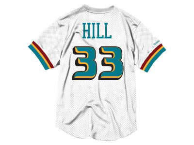 Detroit Pistons Grant Hill Mitchell & Ness NBA Men's Name and Number Mesh Crewneck Jersey