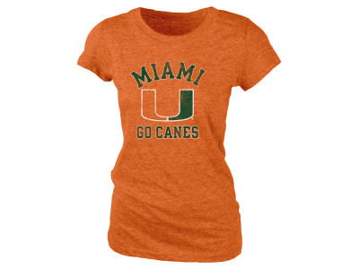 Miami Hurricanes Blue 84 NCAA Women's Tri-Blend Distressed T-Shirt