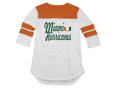 Miami Hurricanes Blue 84 NCAA Women's Tri-Blend 3/4 Yoke T-Shirt