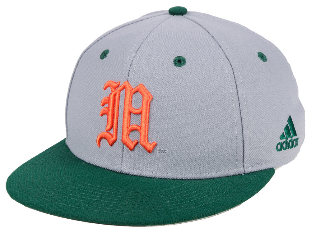 Miami Hurricanes adidas NCAA On-Field Baseball Fitted Cap  be594c8a26d