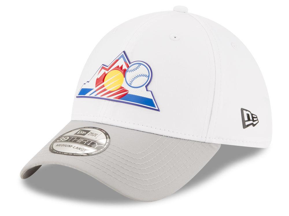 Colorado Rockies New Era MLB White Batting Practice 39THIRTY Cap ... 9ddcce408e5