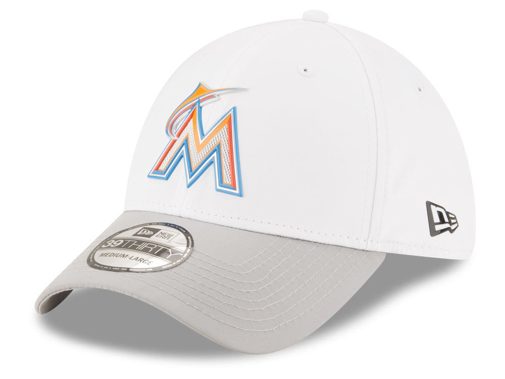 outlet store 3ddb7 4cd03 top quality miami marlins new era mlb white batting practice 39thirty cap  b160d 159fe