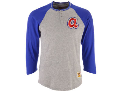 Atlanta Braves Mitchell & Ness MLB Men's 4-Button Henley T-shirt