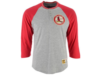 St. Louis Cardinals Mitchell & Ness MLB Men's 4-Button Henley T-shirt