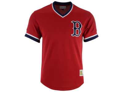 Boston Red Sox Mitchell & Ness MLB Men's Mesh V-Neck Jersey