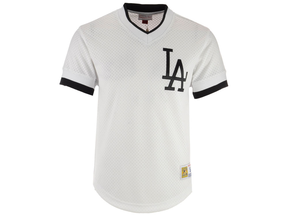Los Angeles Dodgers Mitchell   Ness MLB Men s Mesh V-Neck Jersey ... a56f5a559