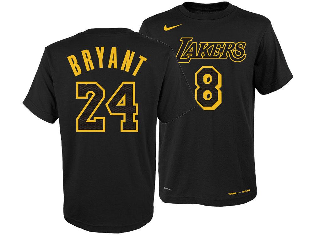 Los Angeles Lakers Kobe Bryant Nike NBA Youth Retired Player T-Shirt ... 9a8491e33