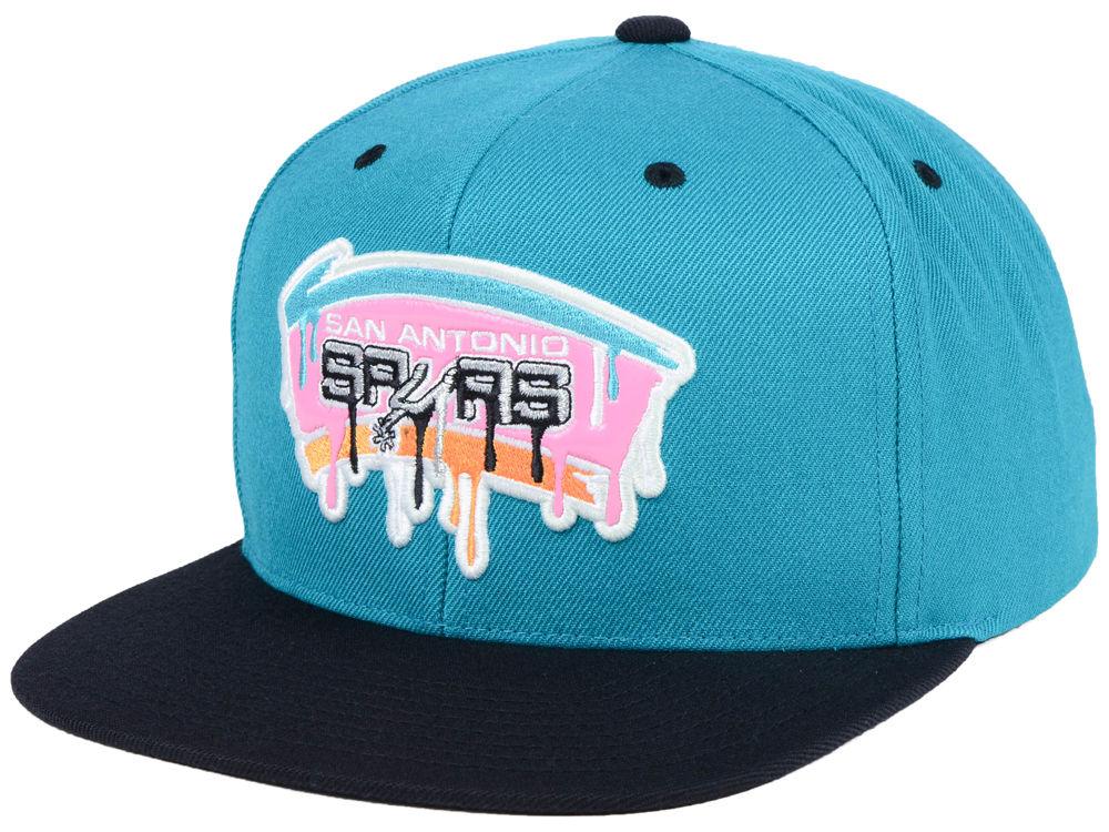 San Antonio Spurs Mitchell   Ness NBA Dripped Snapback Cap  e34a65299