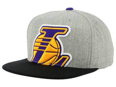 9c647109b298a Los Angeles Lakers Mitchell   Ness NBA Cropped Heather Snapback Cap
