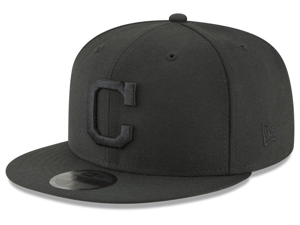 98c566e0 ... order cleveland indians new era mlb blackout 59fifty cap lids f91da  c2267