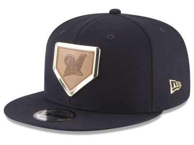 Milwaukee Brewers New Era MLB Framed Leather 9FIFTY Snapback Cap