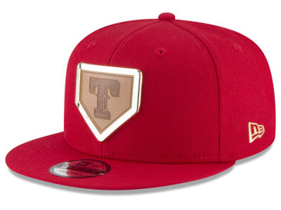 Texas Rangers New Era MLB Framed Leather 9FIFTY Snapback Cap