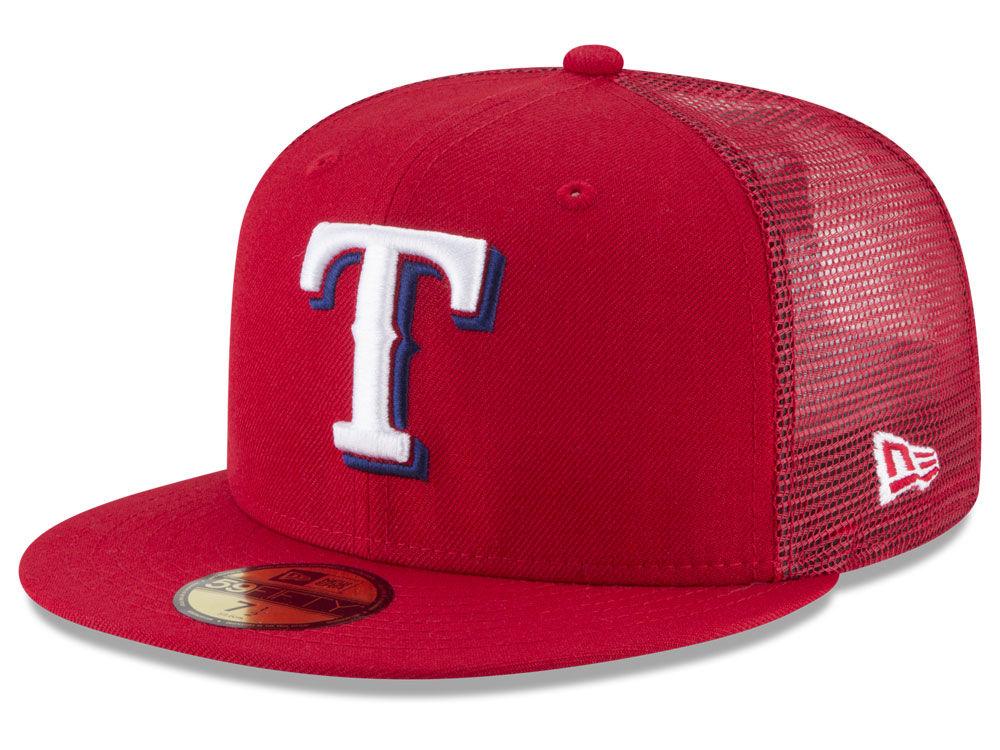 8283dcaf9f4 Texas Rangers New Era Mlb On Field Mesh Back 59fifty Cap Lids