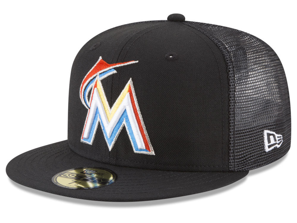 the latest d5285 52ffb ... new zealand miami marlins new era mlb on field mesh back 59fifty cap  6406f 8e87e