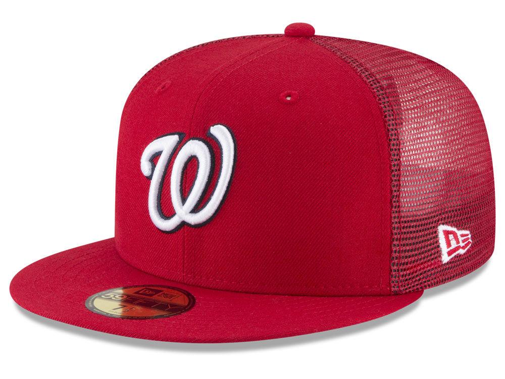 Washington Nationals New Era MLB On-Field Mesh Back 59FIFTY Cap ... 50ee2e9ad0b7