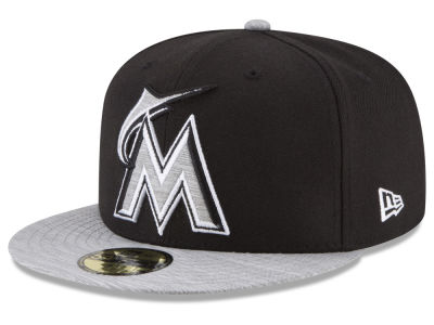Miami Marlins New Era MLB Black Heather 59FIFTY Cap