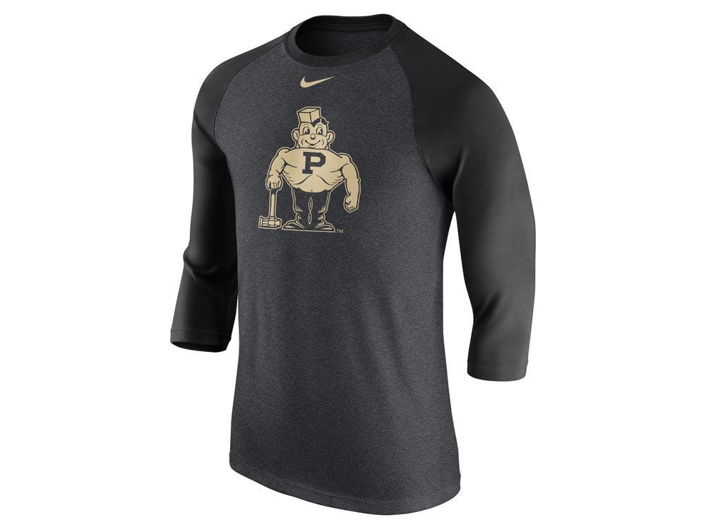 09d3c0636 Purdue Boilermakers Nike NCAA Men s Tri-blend Vault Logo 3 4 Sleeve Raglan T -shirt