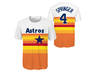 Houston Astros George Springer Majestic MLB Youth Coop Poly Player T-Shirt