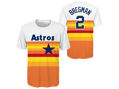 Houston Astros Alex Bregman Majestic MLB Youth Coop Poly Player T-Shirt