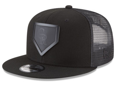Colorado Rockies New Era MLB Leather Metal Plate 9FIFTY Snapback Cap