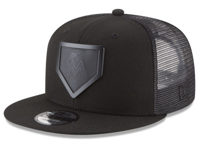 Miami Marlins New Era MLB Leather Metal Plate 9FIFTY Snapback Cap