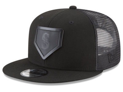 Seattle Mariners New Era MLB Leather Metal Plate 9FIFTY Snapback Cap