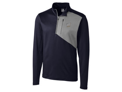 Milwaukee Brewers Cutter & Buck MLB Men's CB DryTec Shaw Hybrid Half Zip Pullover