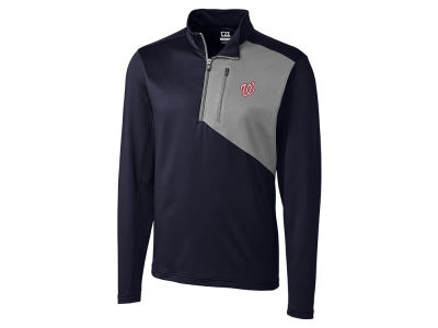 Washington Nationals Cutter & Buck MLB Men's CB DryTec Shaw Hybrid Half Zip Pullover