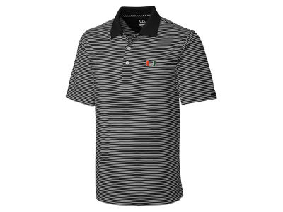 Miami Hurricanes Cutter & Buck NCAA Men's CB DryTec Trevor Stripe Polo